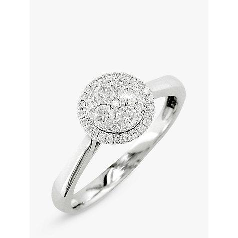 buy ewa 18ct white gold cluster engagement ring