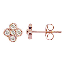 Buy EWA 18ct Rose Gold Diamond Millgrain Earrings Online at johnlewis.com