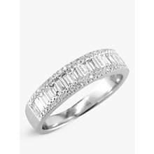 Buy EWA 18ct White Gold Diamond Baguette Cut Half Eternity Ring, White Gold Online at johnlewis.com