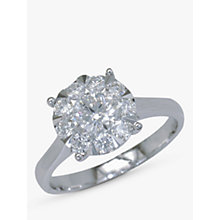 Buy EWA 18ct White Gold Diamond Illusion Set Claw 1 Ring Online at johnlewis.com