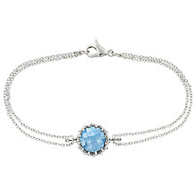 Buy London Road Bloomsbury 9ct White Gold Chequer Cut Topaz Coronation Bracelet, White Gold Online at johnlewis.com