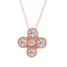 Buy EWA 18ct Rose Gold Diamond Millgrain Pendant Online at johnlewis.com
