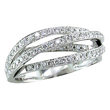 Buy EWA 18ct White Gold Diamond Cross Over Ring Online at johnlewis.com