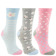 Buy John Lewis Blossom Socks, Pack of 3, Pink/Grey/Blue Online at johnlewis.com