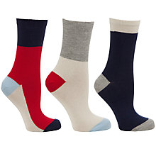 Buy John Lewis Colour Block Socks, One Size, Pack of 3, Multi Online at johnlewis.com