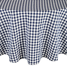 Buy John Lewis Gingham Check Tablecloth, Navy, Dia.180cm Online at johnlewis.com