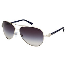 Buy Bvlgari BV6073B Aviator Sunglasses, Silver Online at johnlewis.com