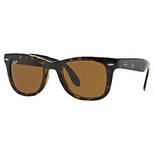 Buy Ray-Ban RB4105 Folding Wayfarer Sunglasses, Tort Tan Online at johnlewis.com