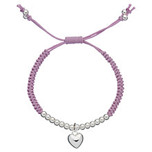 Buy Little Ella Esme Heart Charm SIlver-Plated Bracelet, Purple Online at johnlewis.com