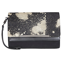 Buy Mint Velvet Alita Leather Pony Skin Clutch Bag, Black Online at johnlewis.com