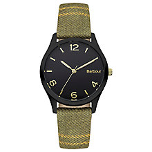 Buy Barbour BB002BKTR Women's Fell Tartan Leather Strap Watch, Tartan/Black Online at johnlewis.com