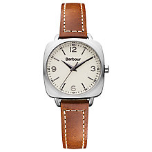 Buy Barbour BB003SLTN Women's Alest Leather Strap Watch, Brown/Cream Online at johnlewis.com