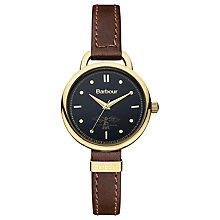 Buy Barbour Women's Clover Leather Strap Watch, Brown/Black Online at johnlewis.com