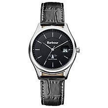 Buy Barbour Bb016gdbr Men's Akenside Leather Strap Watch Online at johnlewis.com