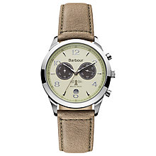 Buy Barbour Bb017cmbr Men's Drileton Leather Strap Watch, Brown/Champagne Online at johnlewis.com