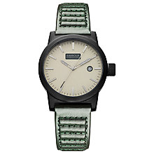Buy Barbour BB024BKGR Men's Fremont Leather Strap Watch, Green Online at johnlewis.com