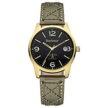 Buy Barbour BB026GRGR Men's Alanby Watch, Khaki/Black Online at johnlewis.com