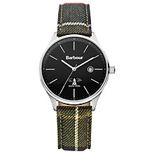 Buy Barbour Bb021sltr Men's Delamer Tartan Leather Strap Watch, Black Online at johnlewis.com