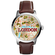 Buy Fossil Fs5018 Men's Townsman London Leather Strap Watch, Brown Online at johnlewis.com
