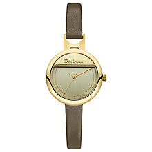 Buy Barbour BB005GDGR Women's Belton Leather Strap Watch, Khaki/Gold Online at johnlewis.com