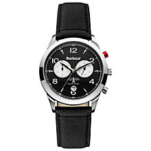 Buy Barbour BB017SLBK Men's Drileton Leather Strap Watch, Black Online at johnlewis.com