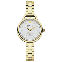 Buy Barbour Bb006gdgd Women's Clover Bracelet Strap Watch, Gold/White Online at johnlewis.com
