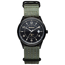 Buy Barbour Bb017bkgr Men's Drileton Watch, Black/Green Online at johnlewis.com