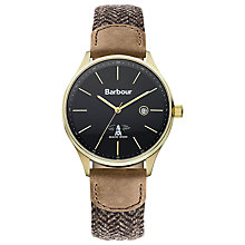 Buy Barbour Bb021gdhb Men's Delamer Leather Strap Watch, Brown/Grey Online at johnlewis.com