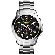 Buy Fossil Fs4994 Men's Grant Bracelet Strap Watch, Silver/Black Online at johnlewis.com