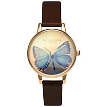 Buy Olivia Burton OB14WL40 Women's Woodland Butterfly Leather Watch, Chocolate Online at johnlewis.com