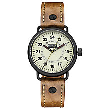 Buy Barbour BB022GDBR Men's International Fowler Leather Strap Watch, Brown/Cream Online at johnlewis.com