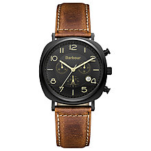 Buy Barbour Bb019bktn Men's Beauson Leather Strap Watch, Brown Online at johnlewis.com