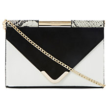 Buy Dune Barrio Bar Top Envelope Style Clutch Bag, White / Black Online at johnlewis.com