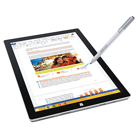 "Buy Microsoft Surface Pro 3, Intel Core i3, 4GB RAM, Windows 8.1 Pro, 12"", 64GB, Wi-Fi, Silver Online at johnlewis.com"
