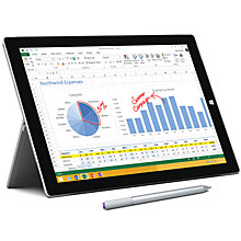 "Buy Microsoft Surface Pro 3, Intel Core i7, 8GB RAM, Windows 8.1 Pro, 12"", 512GB, Wi-Fi, Silver Online at johnlewis.com"