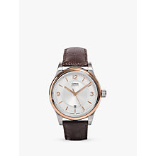 Buy Oris 73375944331LS Men's Classic Leather Watch, Black / Silver Online at johnlewis.com