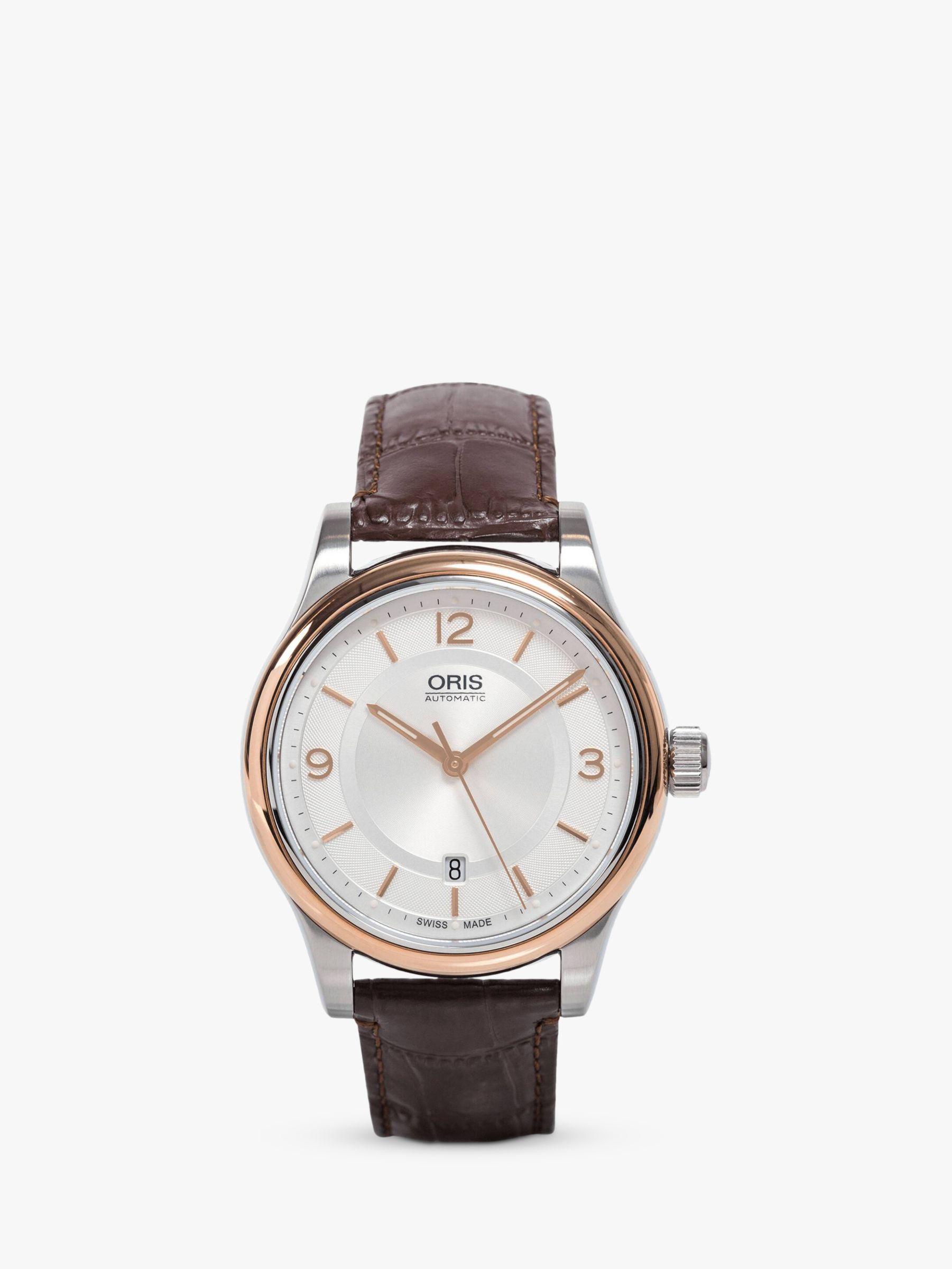 Oris Oris 73375944331LS Men's Classic Leather Strap Watch, Black/Silver