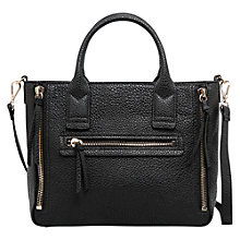 Buy Mango Small Pebbled Tote Bag, Black Online at johnlewis.com