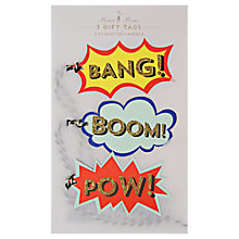 Buy Meri Meri Bang! Boom! Pow! Gift Tags, Pack of 3 Online at johnlewis.com