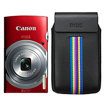 "Buy Canon IXUS 150 Digital Camera Essentials Kit, HD 720p, 16MP, 8x Optical Zoom, 2.7"" LCD Screen, with Case and 4GB Memory Card, Red Online at johnlewis.com"