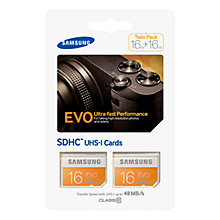 Buy Samsung Evo UHS-I U1 SDHC Memory Card, 16GB, 48MB/s, Twin Pack Online at johnlewis.com