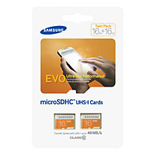 Buy Samsung Evo UHS-I U1 microSDHC Memory Card, 16GB, 48MB/s, Twin Pack Online at johnlewis.com