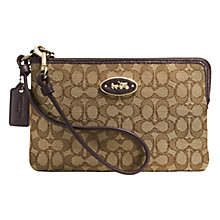 Buy Coach Embossed Signature Wristlet Purse, Brown/Khaki Online at johnlewis.com