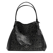 Buy Coach Edie Studs Leather Shoulder Bag, Black Online at johnlewis.com