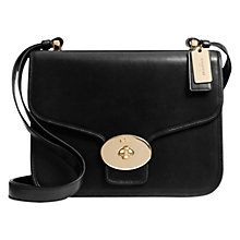 Buy Coach Page Flap Leather Shoulder Bag, Black Online at johnlewis.com