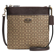 Buy Coach Signature Swingpack Leather Bag, Khaki Brown Chestnut Online at johnlewis.com