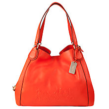 Buy Coach Edie Pebble Leather Embossed Shoulder Bag, Pink Online at johnlewis.com