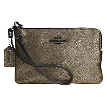 Buy Coach Metallic Leather Wristlet Purse, Brass Online at johnlewis.com