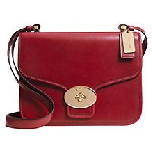 Buy Coach Page Flap Leather Shoulder Bag, Red Online at johnlewis.com