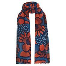 Buy Havren Stamped Flower Printed Wool Scarf, Ocean Combo Online at johnlewis.com